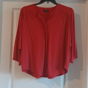 Red dolman sleeve button up top